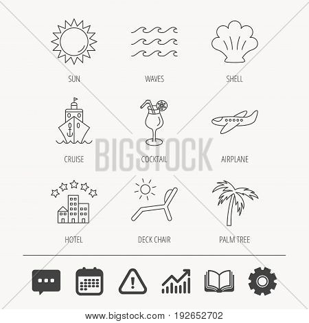 Cruise, waves and cocktail icons. Hotel, palm tree and shell linear signs. Airplane, deck chair and sun flat line icons. Education book, Graph chart and Chat signs. Vector
