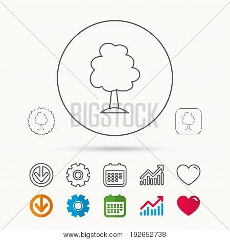 Tree icon. Forest wood sign. Nature environment symbol. Calendar, Graph chart and Cogwheel signs. Download and Heart love linear web icons. Vector