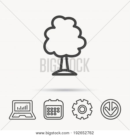 Tree icon. Forest wood sign. Nature environment symbol. Notebook, Calendar and Cogwheel signs. Download arrow web icon. Vector