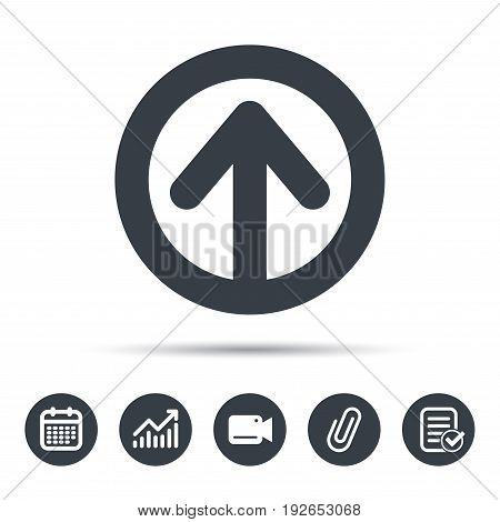 Upload icon. Load internet data symbol. Calendar, chart and checklist signs. Video camera and attach clip web icons. Vector