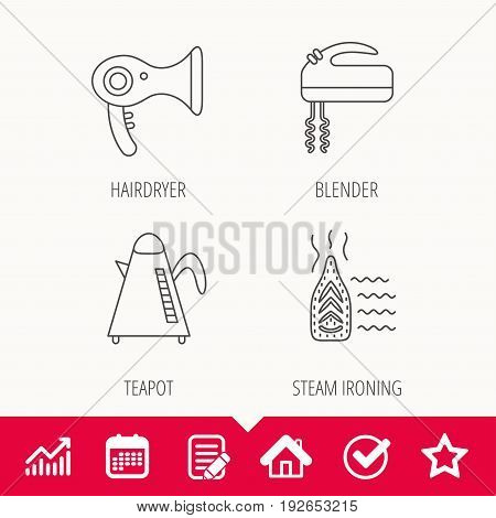 Steam ironing, kettle and blender icons. Hairdryer linear sign. Edit document, Calendar and Graph chart signs. Star, Check and House web icons. Vector