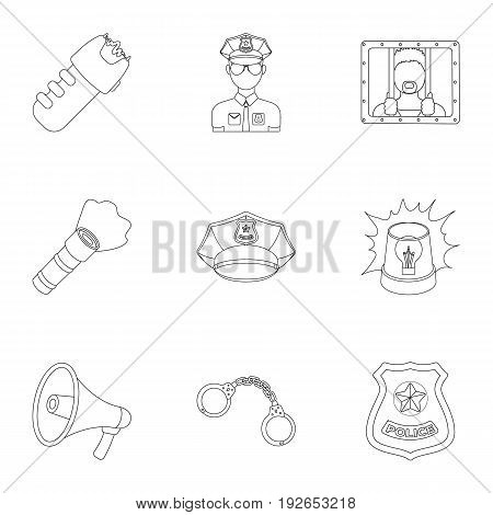 Police equipment, police, prisoners, protection of citizens.Police icon in set collection on outline style vector symbol stock web illustration.