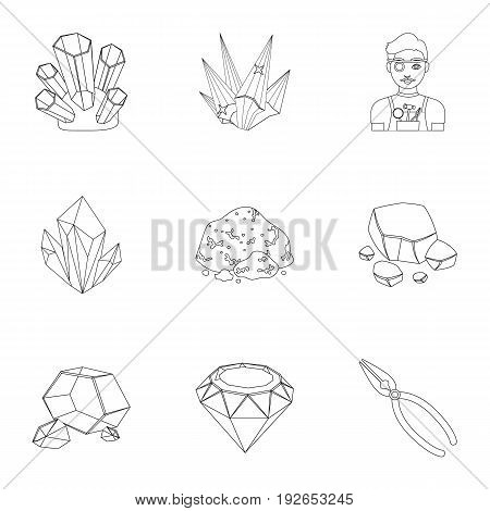 A set of jewelry, crystals, minerals and expensive metals. The jeweler inspects the ornaments.Precious minerals amd jeweler icon in set collection on outline style vector symbol stock web illustration.