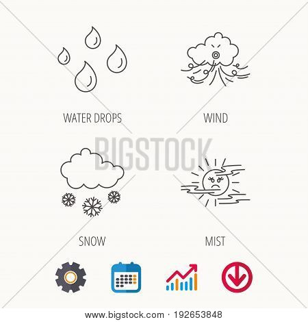 Weather, snow and rain icons. Water drops and mist linear signs. Calendar, Graph chart and Cogwheel signs. Download colored web icon. Vector