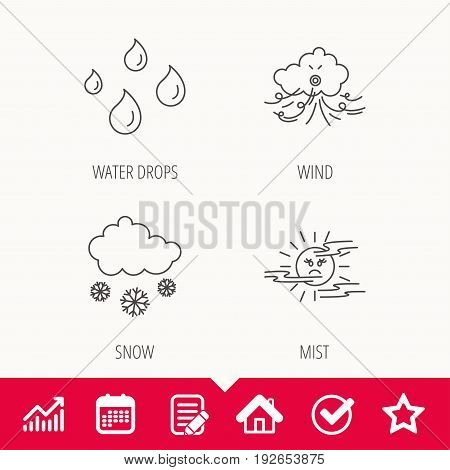Weather, snow and rain icons. Water drops and mist linear signs. Edit document, Calendar and Graph chart signs. Star, Check and House web icons. Vector