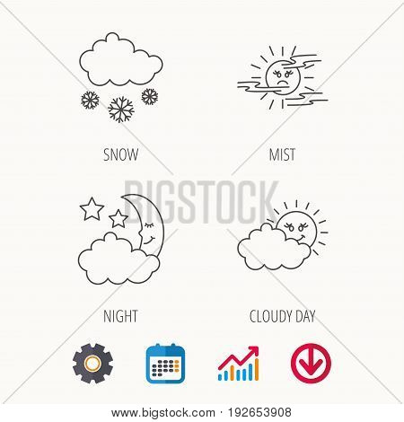 Weather, mist and snow icons. Moon night, clouds linear signs. Calendar, Graph chart and Cogwheel signs. Download colored web icon. Vector