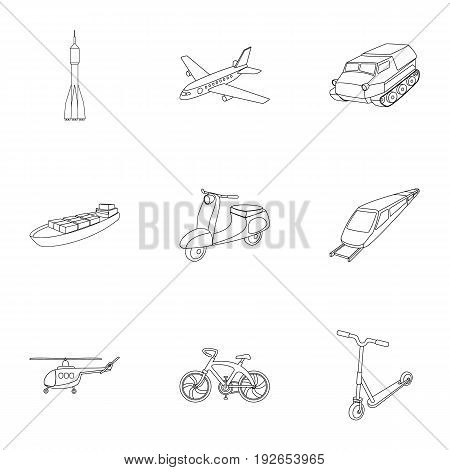 Set of pictures about types of transport. Transportation of people, cargo. Ground, underwater, air transport. Transport icon in set collection on outline style vector symbol stock web illustration.
