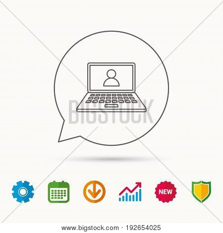 Webinar icon. Chat video sign. Online education symbol. Calendar, Graph chart and Cogwheel signs. Download and Shield web icons. Vector