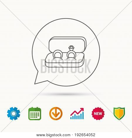 Wedding rings icon. Jewelry with diamond sign. Marriage symbol. Calendar, Graph chart and Cogwheel signs. Download and Shield web icons. Vector