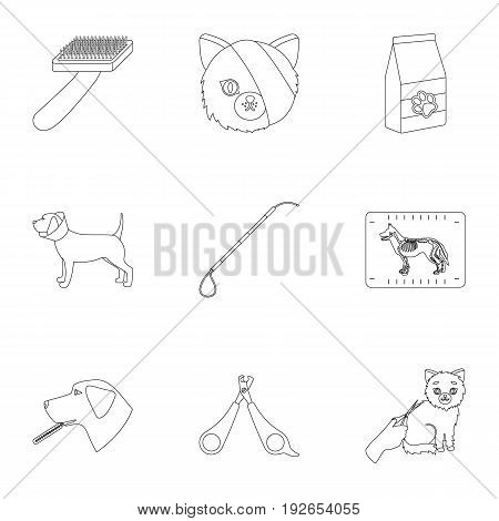 Vet clinic. Treatment of sick animals. Hospital for animals.Vet clinic icon in set collection on outline style vector symbol stock web illustration.