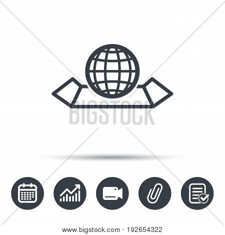 World map icon. Globe sign. Travel location symbol. Calendar, chart and checklist signs. Video camera and attach clip web icons. Vector