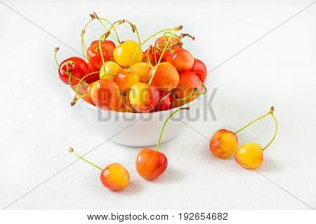 Cherry isolated on white background. Agriculture. Top view. Close-up