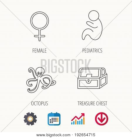 Female, treasure chest and pediatrics icons. Octopus linear sign. Calendar, Graph chart and Cogwheel signs. Download colored web icon. Vector