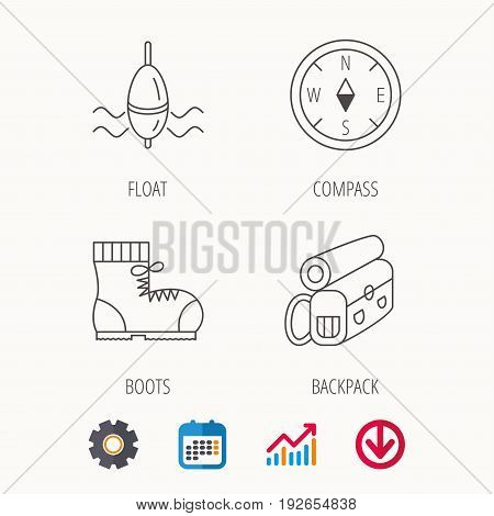 Compass, fishing float and hiking boots icons. Backpack linear sign. Calendar, Graph chart and Cogwheel signs. Download colored web icon. Vector