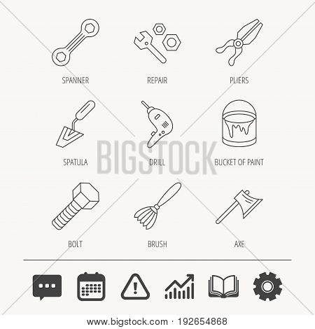 Spanner repair tool, spatula and bolt icons. Bucket of paint, axe and brush linear signs. Drill, pliers flat line icons. Education book, Graph chart and Chat signs. Vector