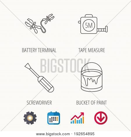 Screwdriver, battery terminal and tape measure icons. Bucket of paint linear sign. Calendar, Graph chart and Cogwheel signs. Download colored web icon. Vector