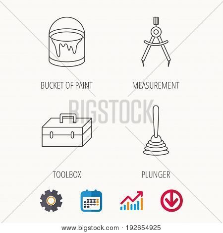 Measurement, plunger and repair toolbox icons. Bucket of paint linear sign. Calendar, Graph chart and Cogwheel signs. Download colored web icon. Vector