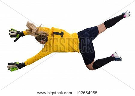female goalie jumping for the ball isolated on white background
