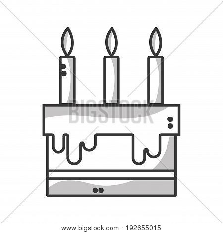 line tasty cake with candle to party celebration vector illustration