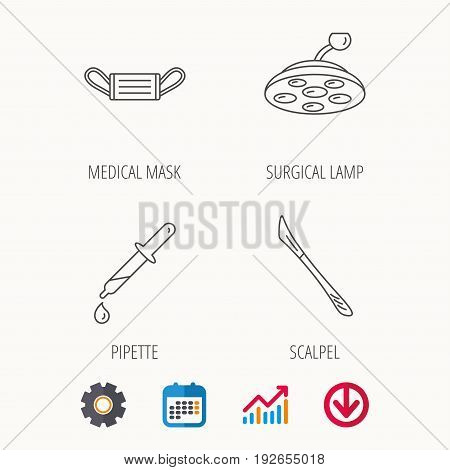 Medical mask, scalpel and pipette icons. Surgical lamp linear sign. Calendar, Graph chart and Cogwheel signs. Download colored web icon. Vector