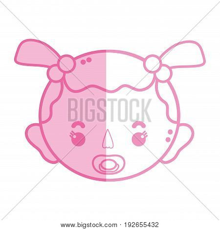 silhouette baby girl head with pacifier and hairstyle vector illustration