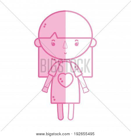 silhouette tender girl child with pijama and hairstyle vector illustration