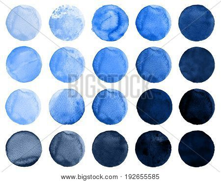 Set of watercolor circles in shades of cerulean cobalt blue ultramarine. Watercolour round elements for logo design banners posters. Royal blue circles hand drawn watercolor background