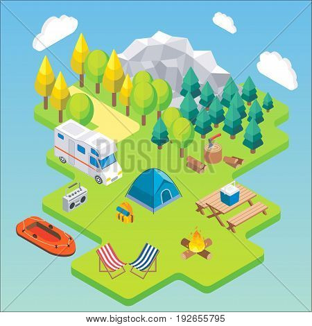 Camping isometric concept. Vector illustration in flat 3d style. Outdoor camp activity. Travel by camper in mountains.