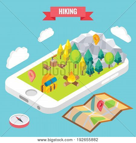 Hiking in a park isometric objects on mobile phone screen. Vector illustration in flat 3d style. Outdoor activity in mountain forest. Stay online everywhere concept illustration.