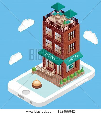 Hotel building on mobile phone screen in vector isometric style. Booking hotel online using smartphone. Illustration in flat 3d design. Hotel building isolated element.