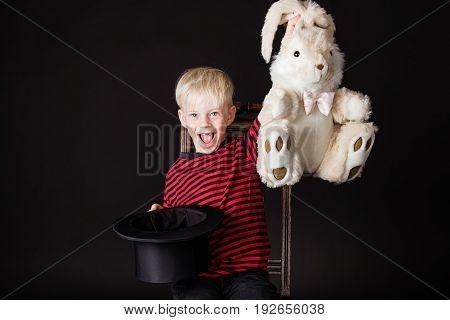 Laughing Vivacious Little Boy Magician