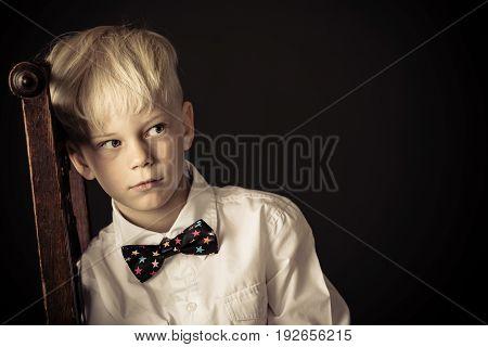 Introvert Withdrawn Little Blond Boy