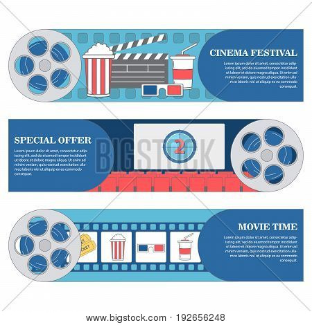 Cinema festival horizontal banners. Vector set of movie cinema banners. poster design template in flat style.
