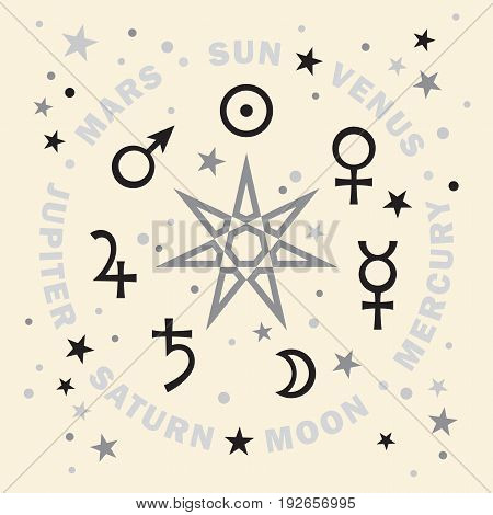 «Septener». The Ancient Star of Babylonian magicians. Seven classical planets of Astrology. (Silver Selenium version).