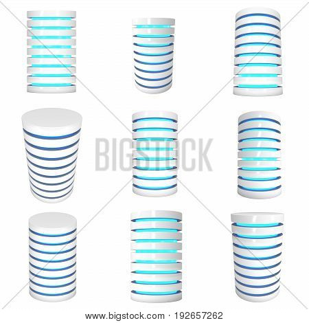 Futuristic server hard disk and database or battery cell set. 3d render isolated on white. Web Hosting or cloud computing concept.