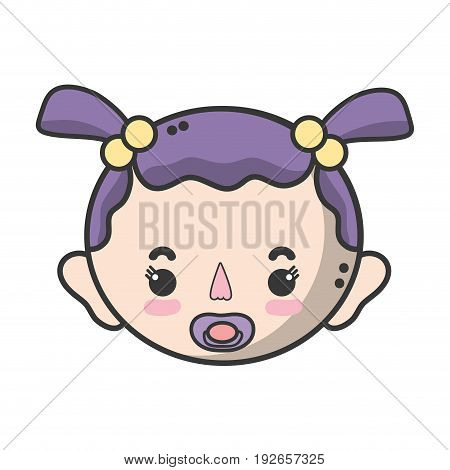 baby girl head with pacifier and hairstyle vector illustration