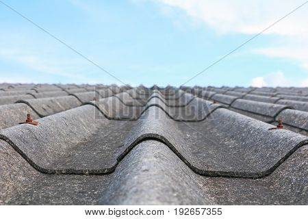 cement roof tiles old with sky background and copy space. select focus shallow depth of field