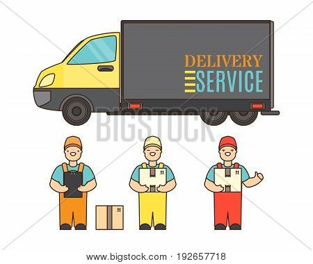 Delivery service concept poster in cartoon style. Relocation service company deliver boxes by truck.