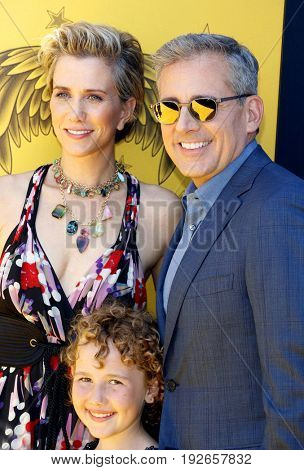 Nev Scharrel, Steve Carell and Kristen Wiig at the World premiere of 'Despicable Me 3' held at the Shrine Auditorium in Los Angeles, USA on June 24, 2017.