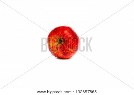 apple red and water drip on white background with copy space add text