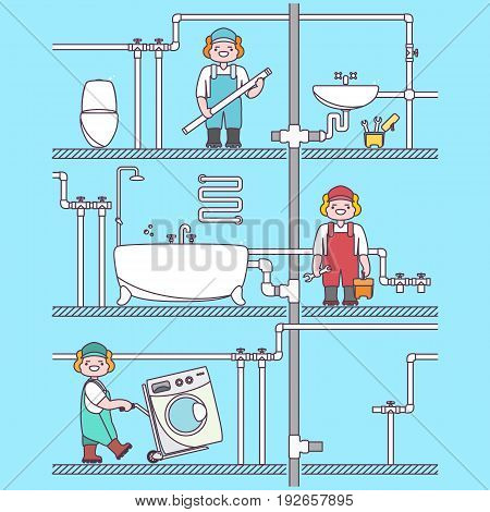Plumber worker cartoon character. Male character fixing tubes in bathroom, holding tool box and plumber wrench. Vector illustration in flat style design. Washing machine set up.
