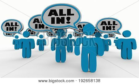 All In People Speech Bubbles Commitment Agreement 3d Illustration