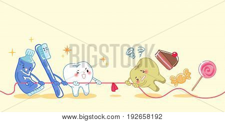 healthy teeth and unhealthy teeth in the tug of war