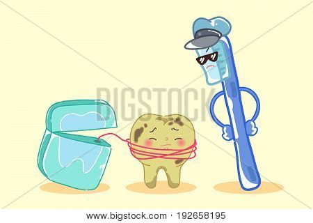 cute cartoon tooth decay with floss and brush