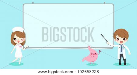 cute cartoon doctor and stomach with white billboard