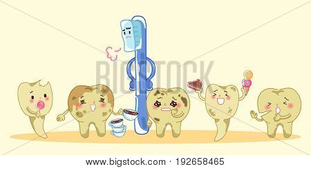 Cartoon tooth decay and toothbrush feel bad