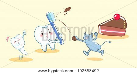 cute cartoon teeth fight with terrible bacterium