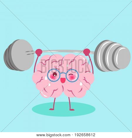 cute cartoon brain with dumbbell on the green background