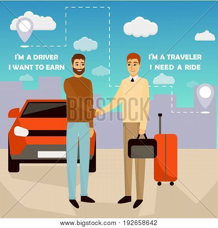 Carpooling concept vector illustration in cartoon style. Carpool and car sharing service poster. Two men shaking hands in front of the car. Travel by car.