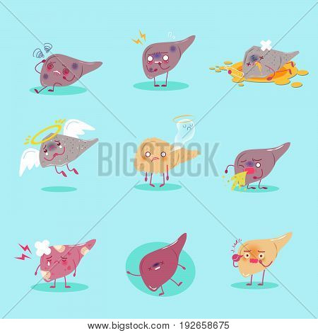 cute cartoon iliver with health concept on the green background